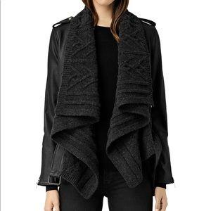 All Saints Leather & Sweater Draped Jacket